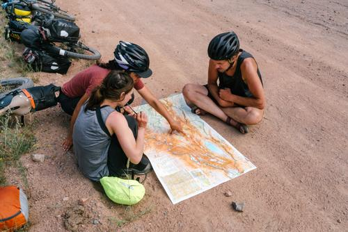 Talking routes with fellow riders