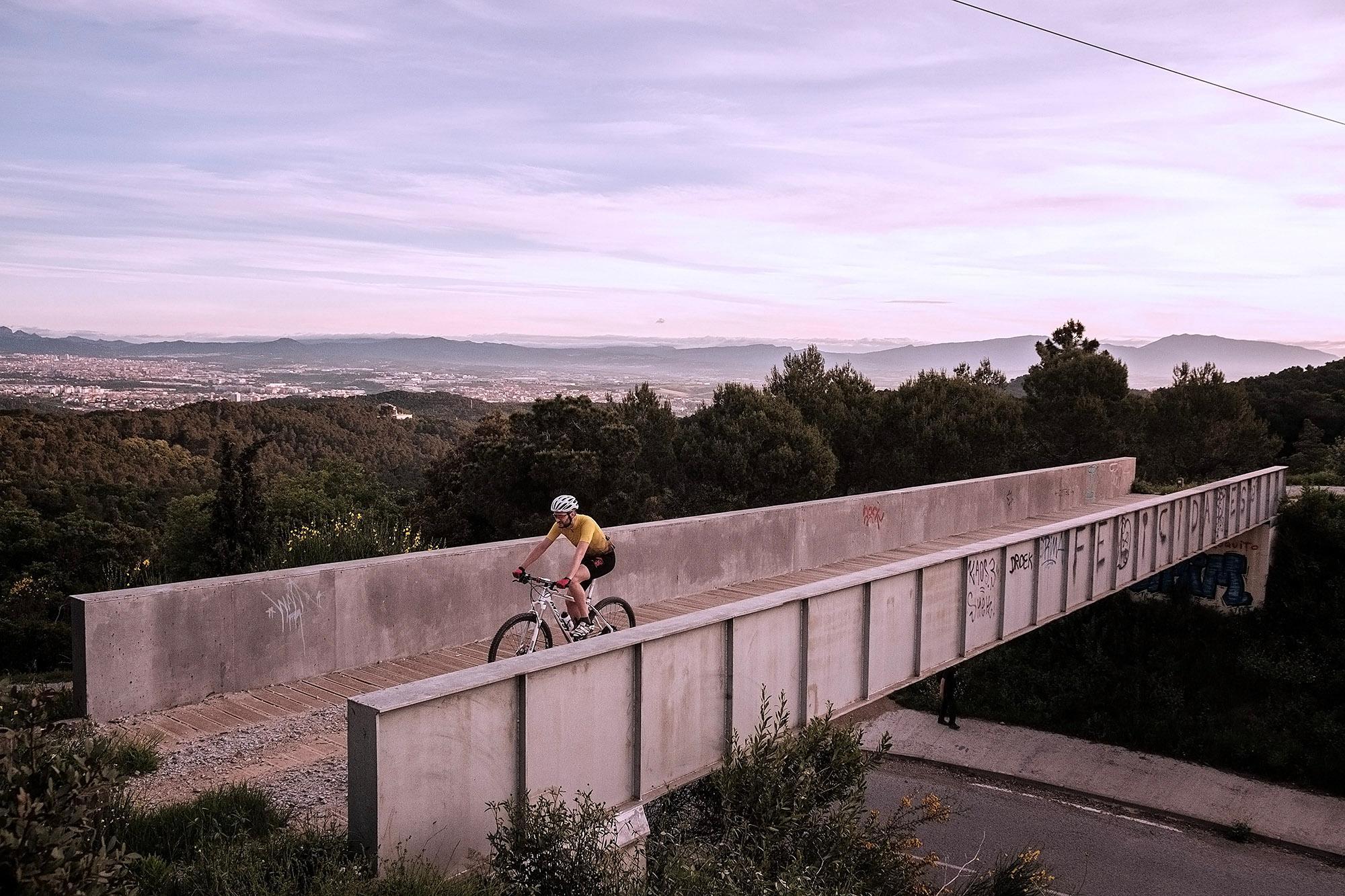 Bikepath bridge over a main road at the Collserola Natural Park.