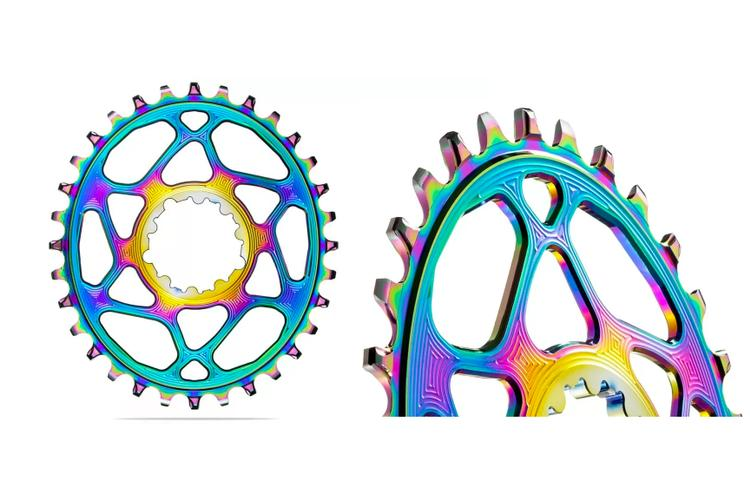 Absolute Black's New PVD Rainbow-Coated Oval Chainrings for SRAM