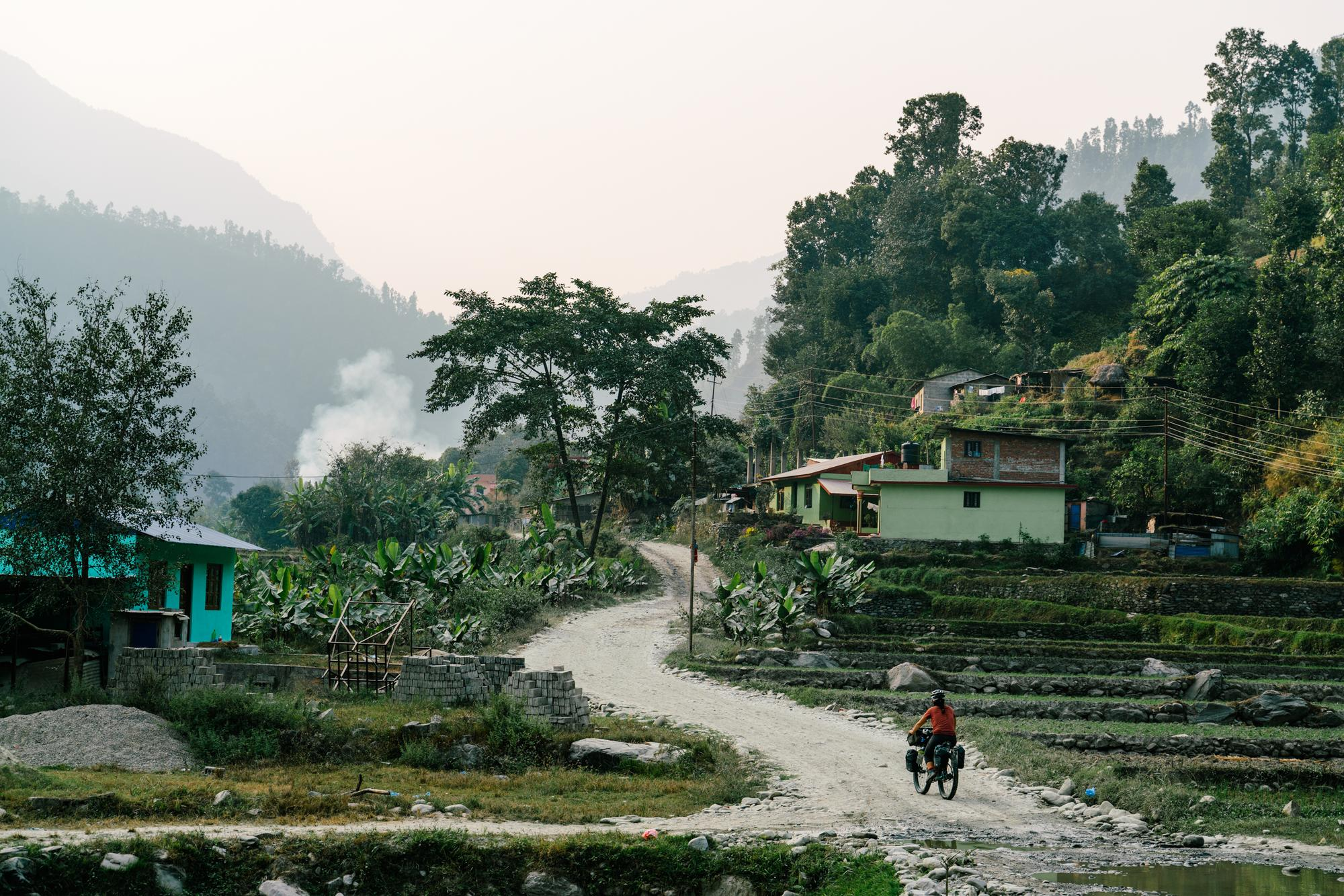 Winding through the terraced hills