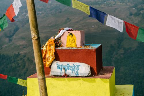 Nepali summits are always adorned with flags and statues
