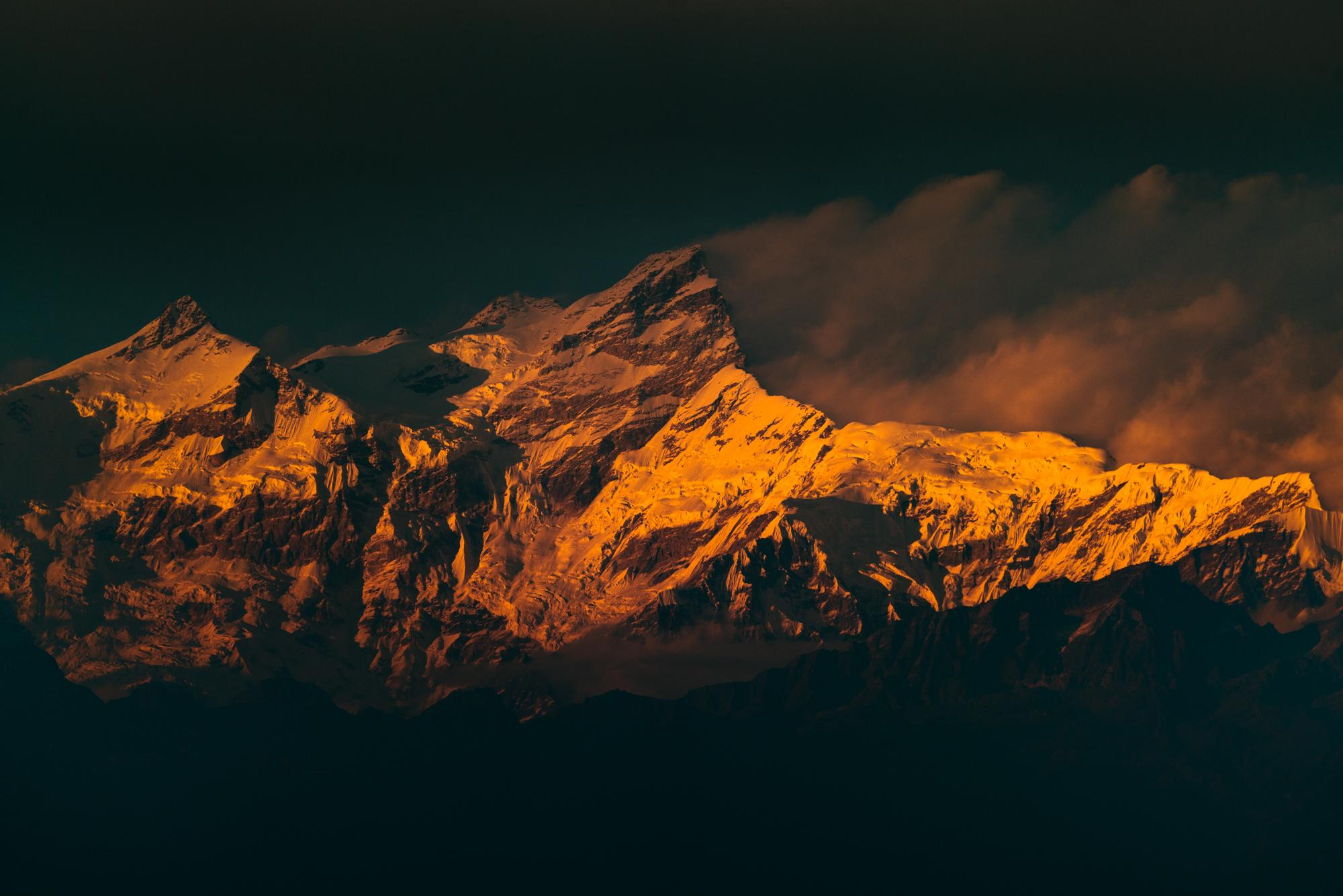Our first view of the Himalayas