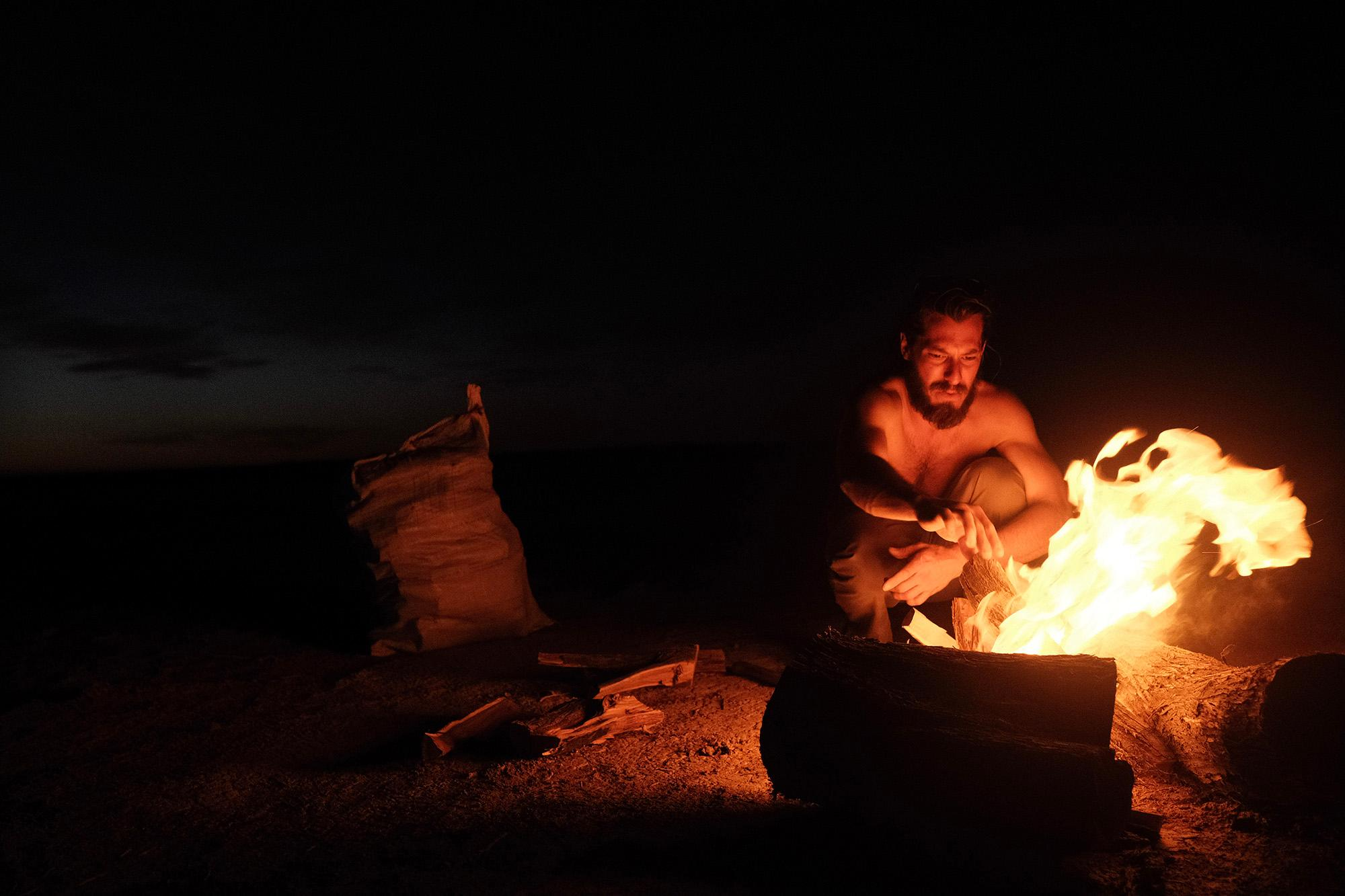 Man's ancient fascination with fire will never cease. DUST, Verneukpan, 2020.