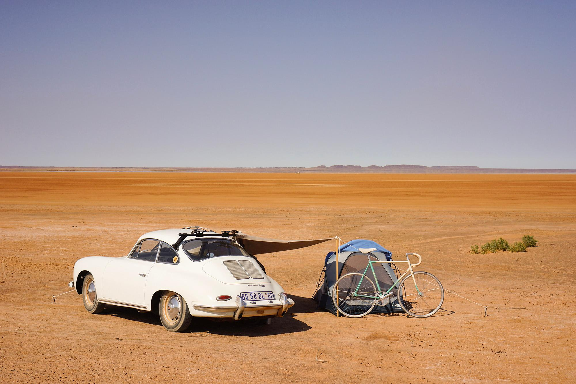 Our camp on the edge of the pan. Hakskeenpan, 2014.