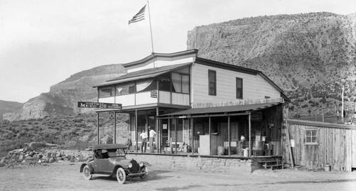 BedrockStore1925: The Bedrock Store, as seen in 1925, was where the Paradox Trail was dedicated. The store doesn't look much different today.