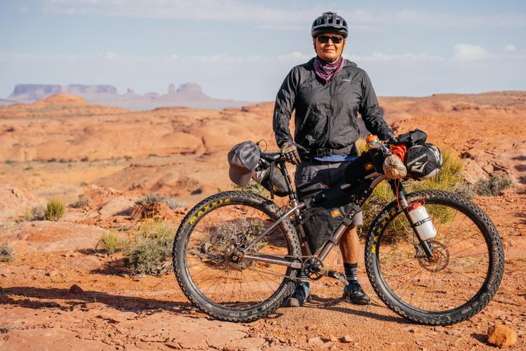 Jon Yazzie from Dzil Ta'ah Adventures and His Ti Vassago Optimus 29+ SS Bikepacking Rig
