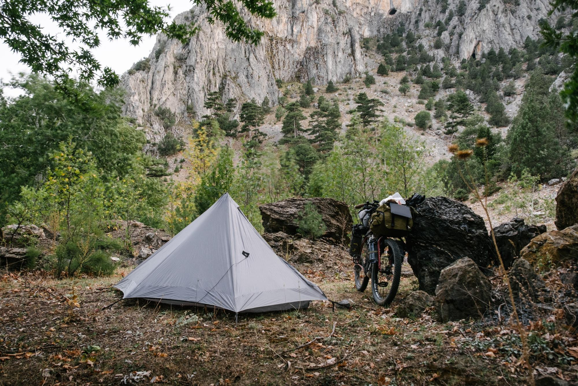 Camping under the cliffs