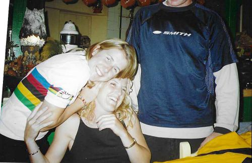 Kathy in the rainbow stripes, hugging her sister after winning the Junior DH World Championship in 2000.