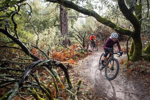 Kathy and Amanda on a damp morning on local Santa Cruz trails.