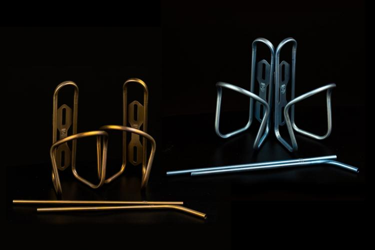 Silca's Limited Edition Bourbon and Aqua Bottle Cages + Drinking Straws
