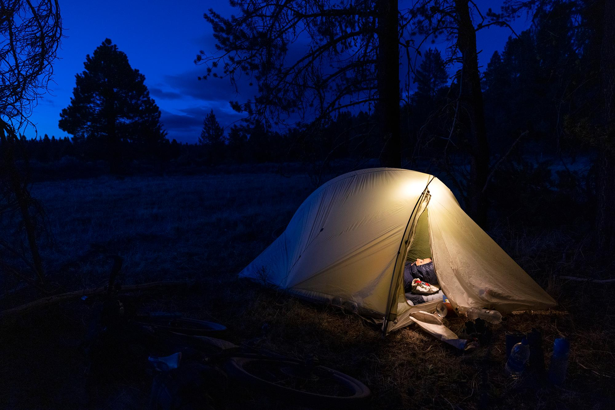 Camping along the OC&E Woods Line State Trail. (Rugile Kaladyte)