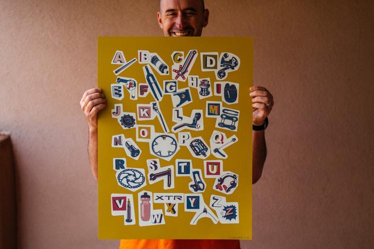 In Stock: Jeff Hantman's Bike Part Alphabet Screen Printed Posters